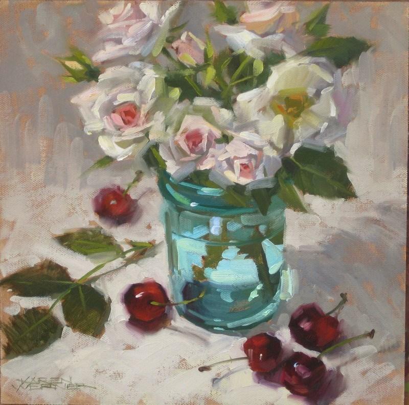 """Cherries & Roses"" original fine art by Karen Werner"