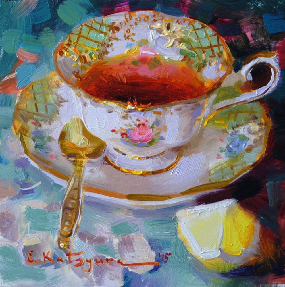 """Tea on Green"" original fine art by Elena Katsyura"