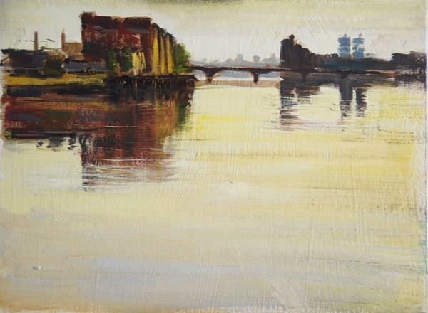 """""""Still Morning Light, Vauxhall Bridge"""" original fine art by Adebanji Alade"""