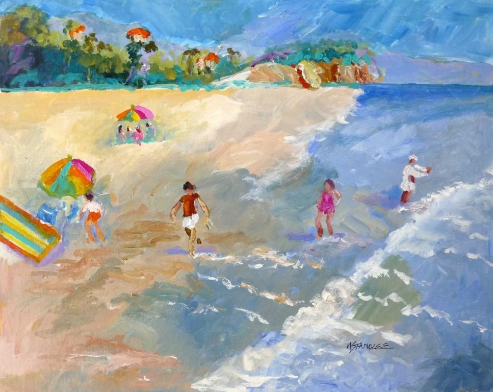 """California Beach 14053"" original fine art by Nancy Standlee"