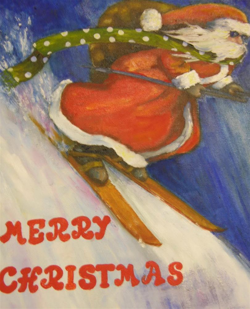 """Skiing Santa"" original fine art by Nan Perry"