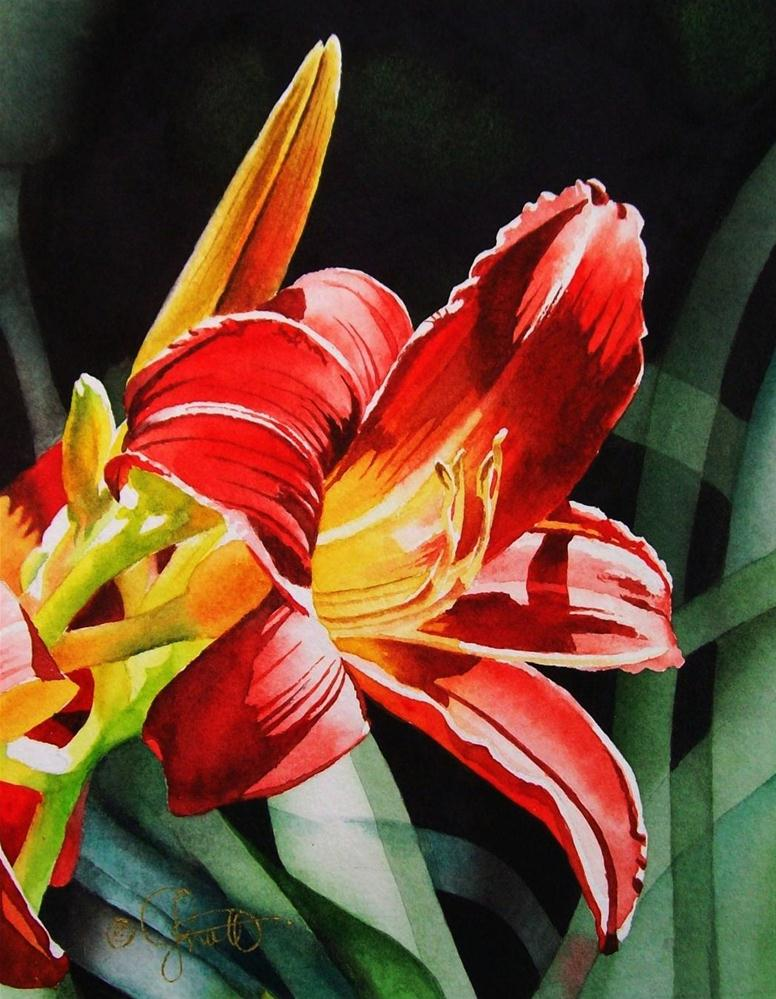 """""""Flaming Red Day Lily"""" original fine art by Jacqueline Gnott, TWSA, WHS"""
