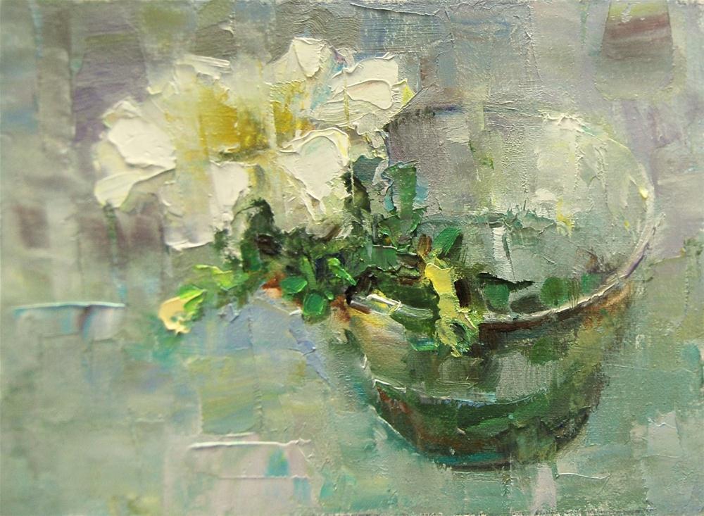 """""""Petunia in a Plastic Glass"""" original fine art by Julie Ford Oliver"""