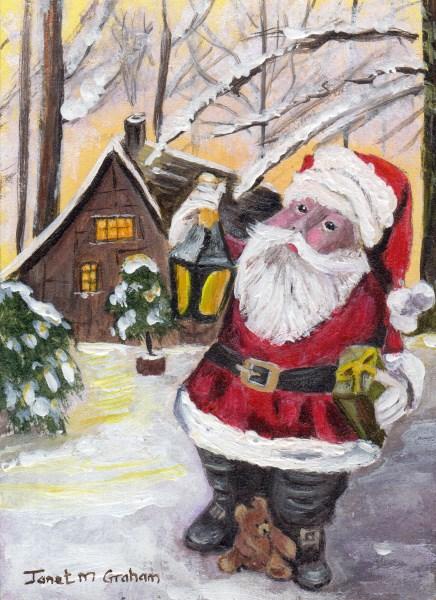 """Santa ACEO"" original fine art by Janet Graham"