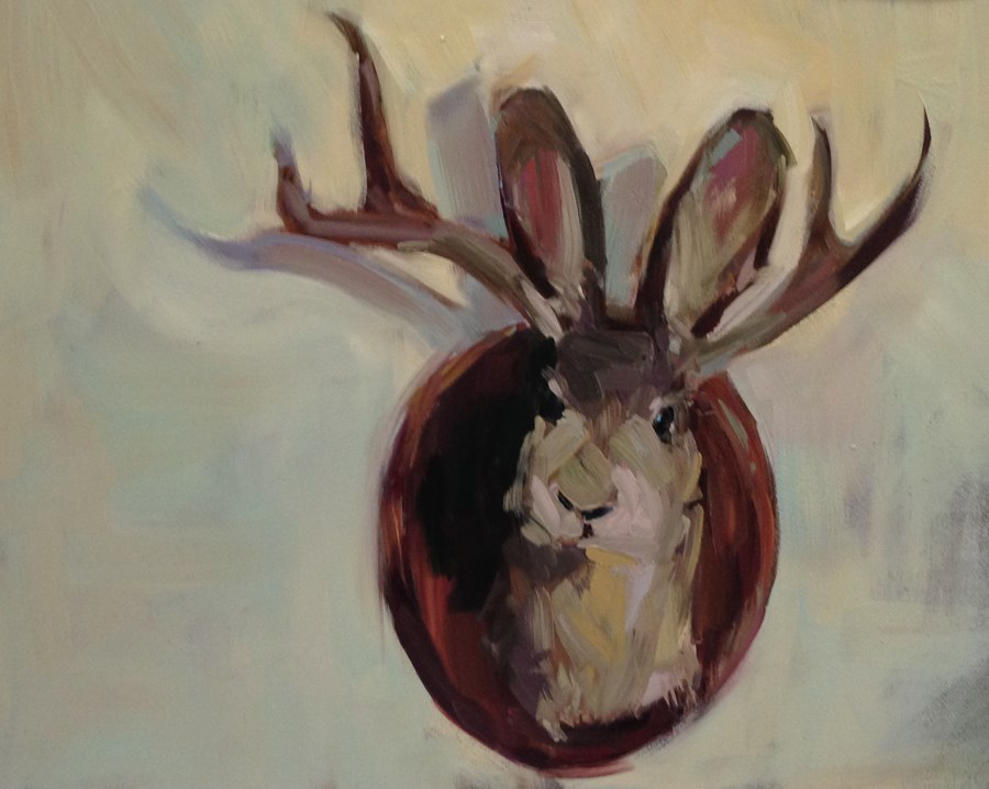"""""""J is For Jackalope, or Do These Antlers Make My Ears Look Big?"""" original fine art by Patti McNutt"""