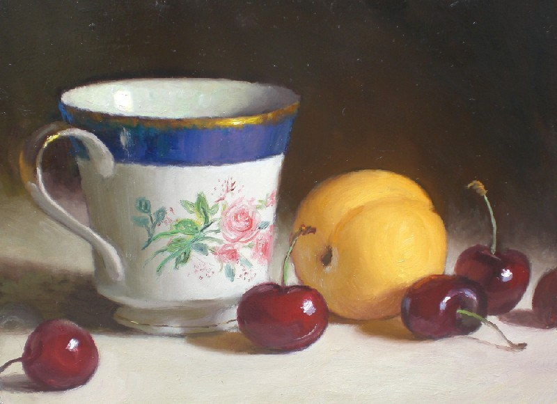"""Cup with Apricot and Cherries"" original fine art by Debra Becks Cooper"