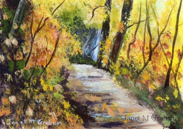 """""""Autumn Path ACEO"""" original fine art by Janet Graham"""