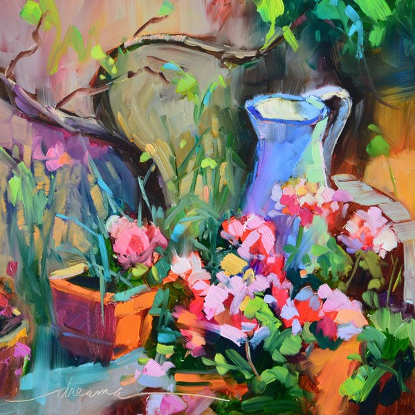 """""""A Gathering of Friends and Dream.Love.Paint Online Ecourse News!"""" original fine art by Dreama Tolle Perry"""