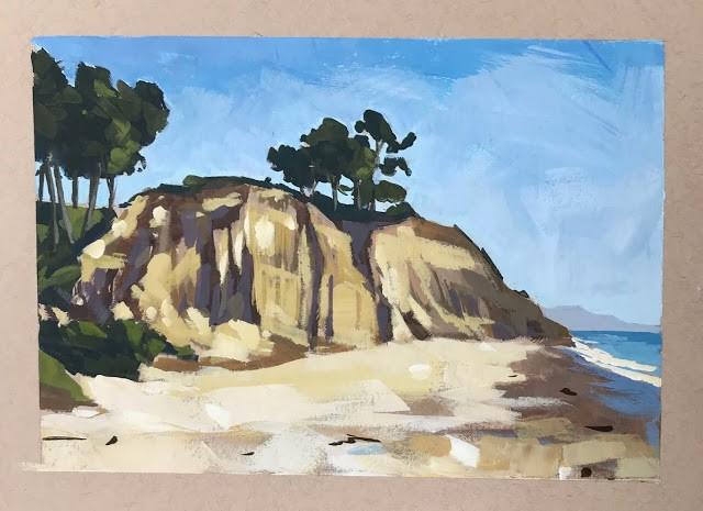 """Loon Beach II - gouache 5x7"" original fine art by Sharon Schock"