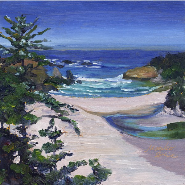 """Jug Handle Beach in summer"" original fine art by Mariko Irie"