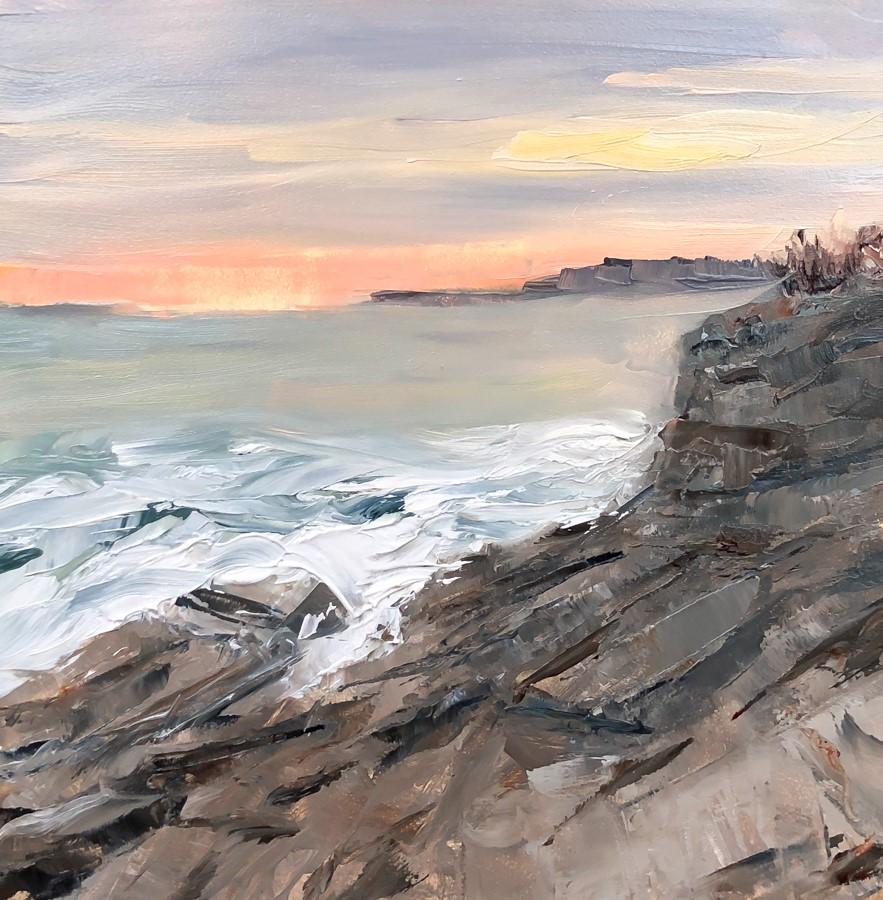 """#246 - Sunset over Richmond Island - Two Lights State Park - ME"" original fine art by Sara Gray"