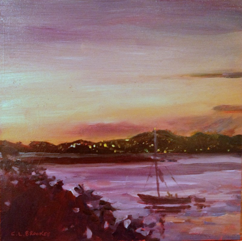 """Lights on St Thoams"" original fine art by Claudia L Brookes"