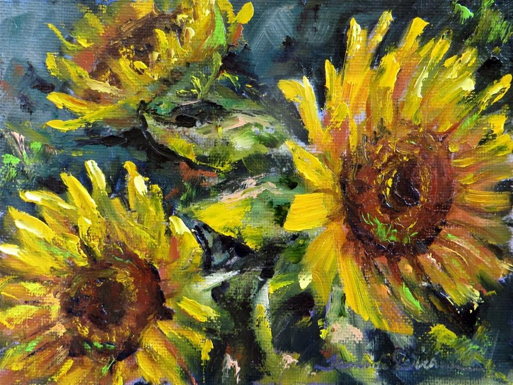 """Palette Knife Sunflowers"" original fine art by Tammie Dickerson"