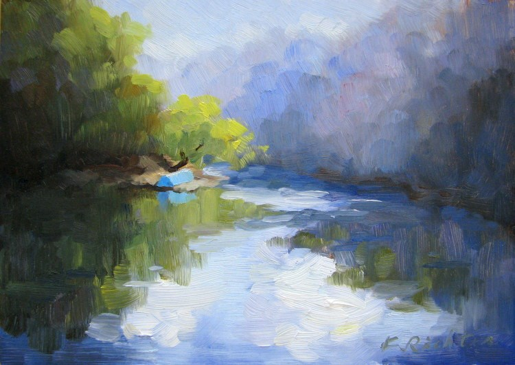 """A Blue Boat by the River"" original fine art by Keiko Richter"
