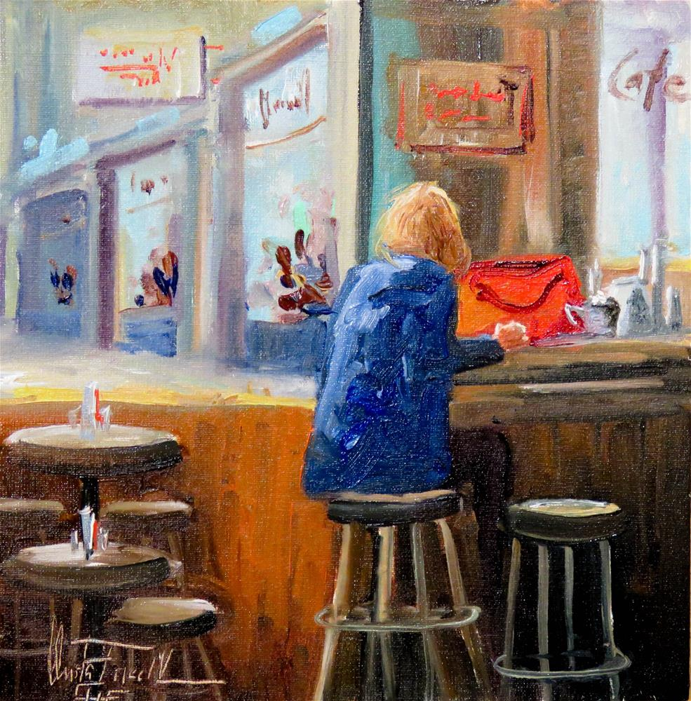 """Alone in a Cafe"" original fine art by Christa Friedl"