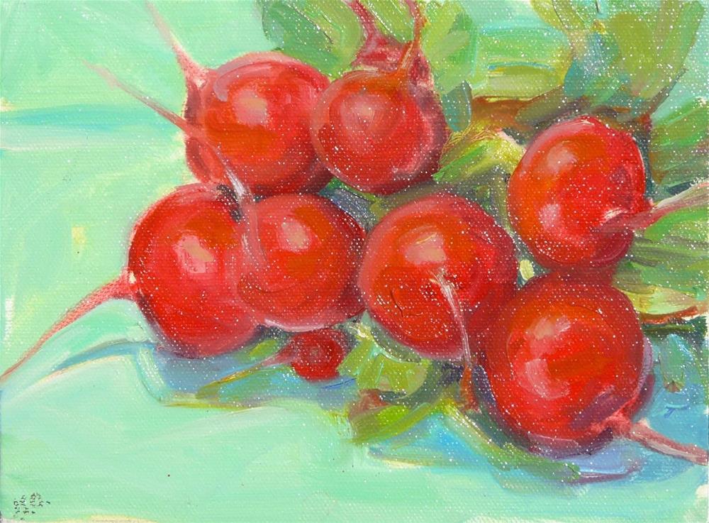 """Radishes,still life,oil on canvas,6x8,price$125"" original fine art by Joy Olney"