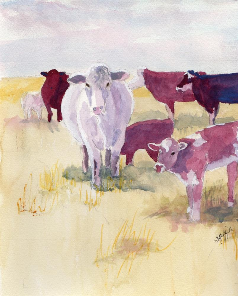 """Cow herd"" original fine art by Bunny Griffeth"