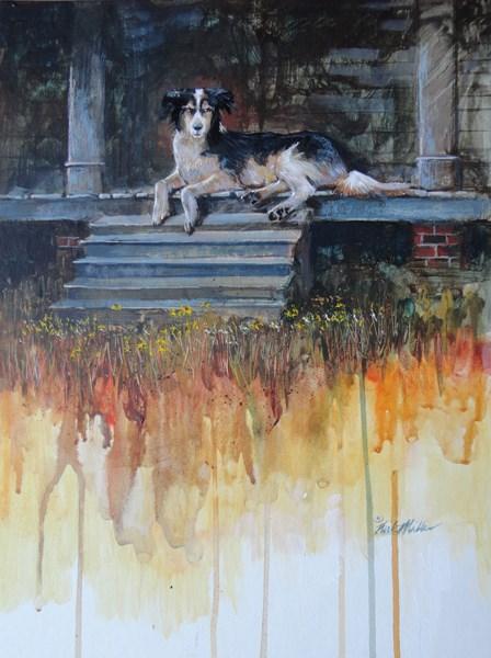 """Guarding The Porch"" original fine art by Kirk Miller"