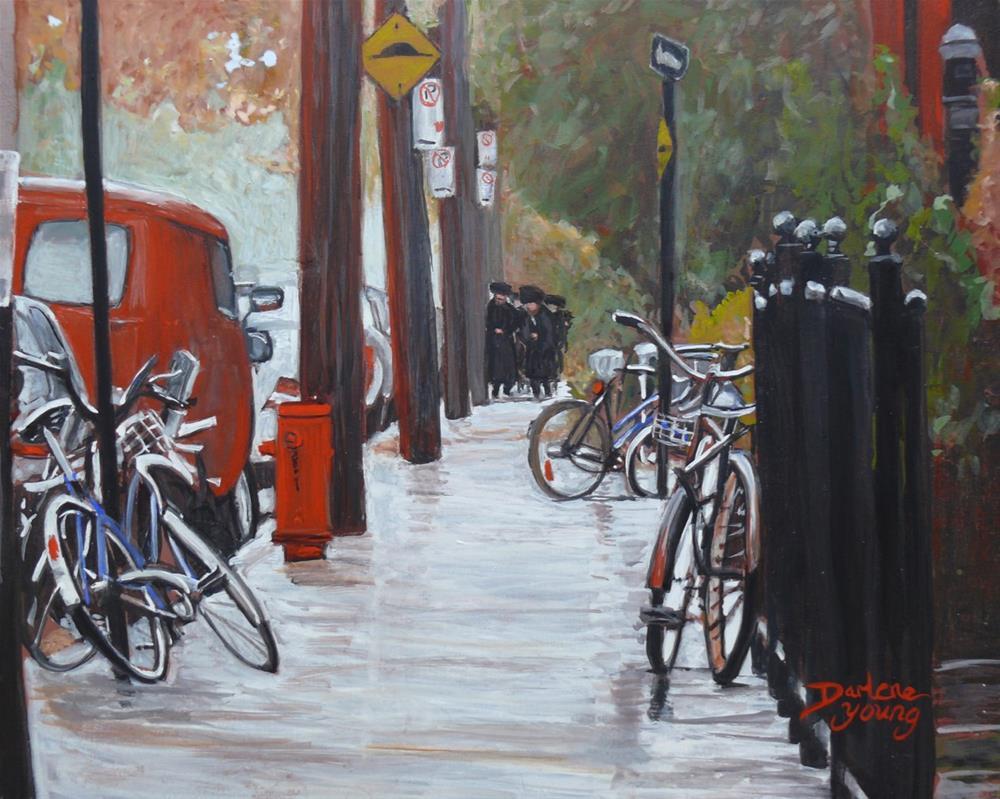 """1184 Shabbat, Mile End Montreal"" original fine art by Darlene Young"