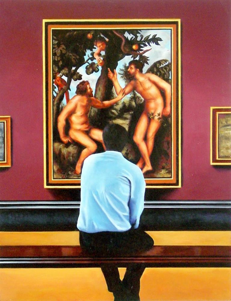 """Adam And Steve- Art Within Art Man Enjoying Artwork Of Adam And Steve In Paradise"" original fine art by Gerard Boersma"