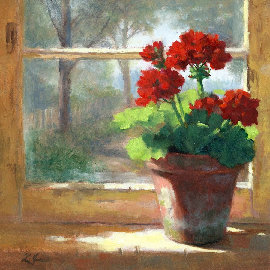 """Geraniums in the Cottage"" original fine art by Linda Jacobus"