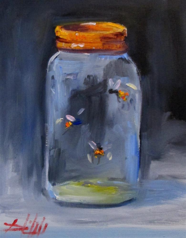 """""""Fireflies in a Jar"""" original fine art by Delilah Smith"""