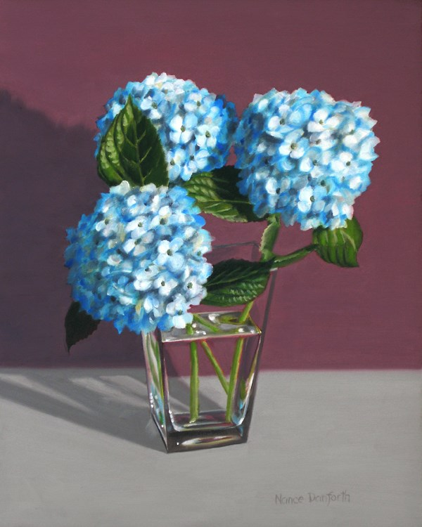 """Hydrangeas in Vase"" original fine art by Nance Danforth"