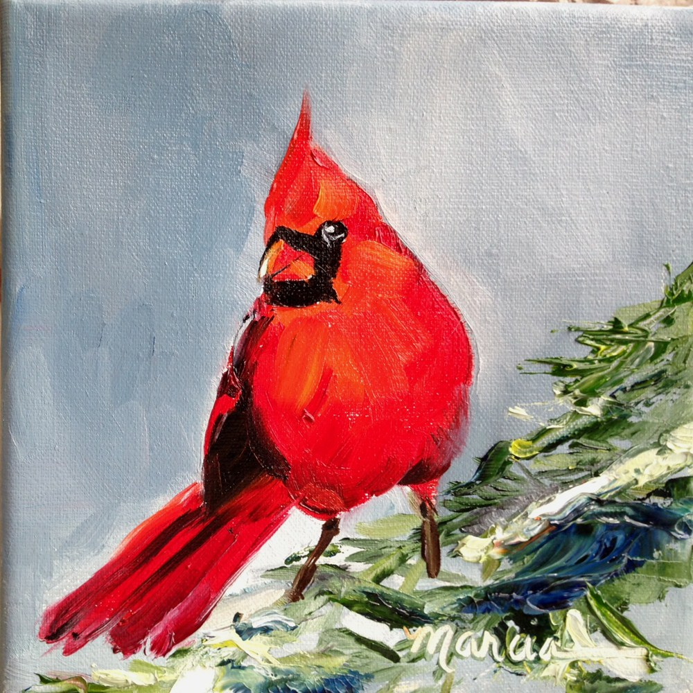"""""""Red Bird in the Pines"""" original fine art by Marcia Hodges"""