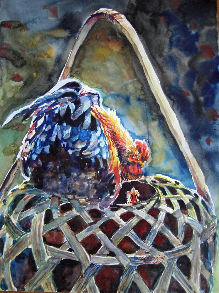 """Rooster talking"" original fine art by Wenqing Xu"
