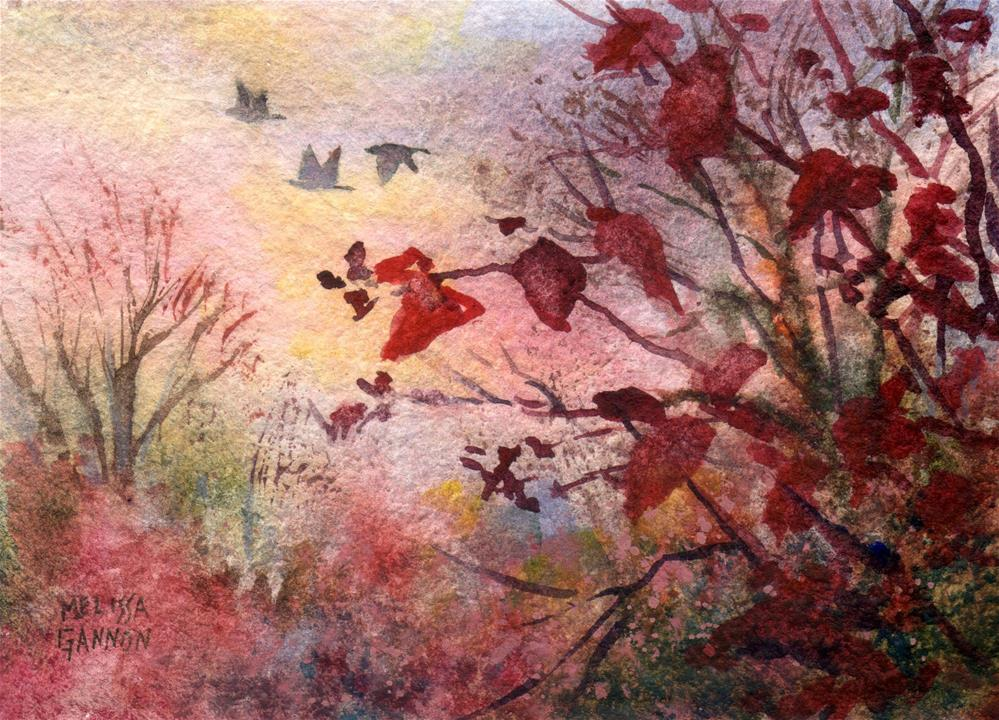 """Red Leaves & Geese"" original fine art by Melissa Gannon"