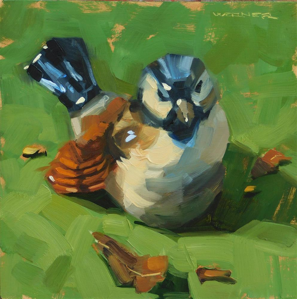 """""""Bird On Green"""" original fine art by Karen Werner"""