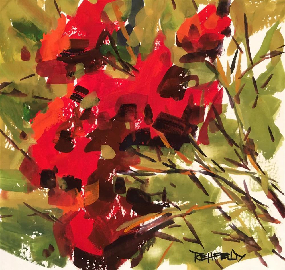 """Garden Rosebush"" original fine art by Cathleen Rehfeld"