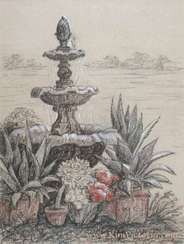 """Ranch Fountain"" original fine art by Kim Victoria"