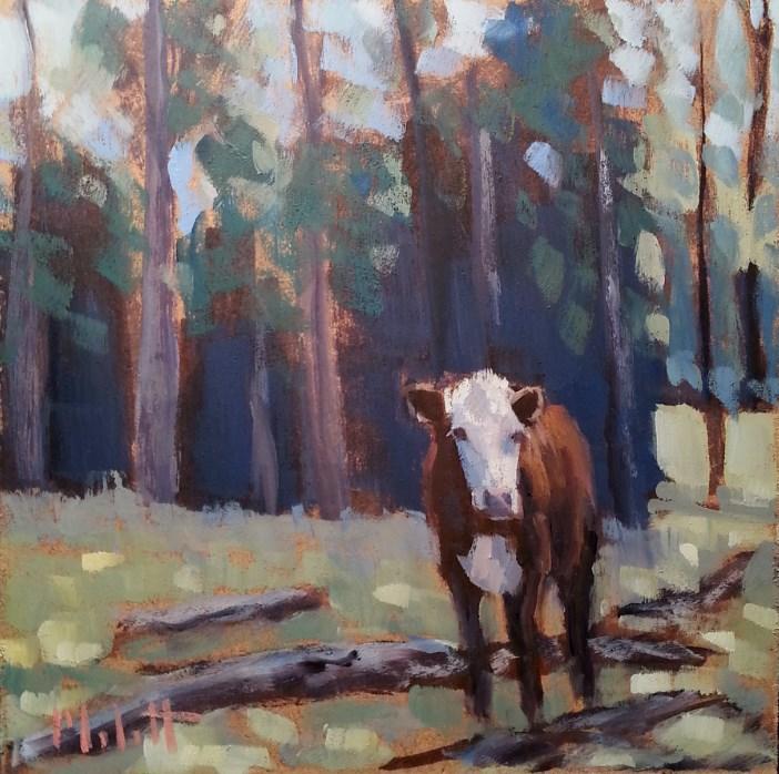 """September Pasture Hereford Cow Autumn Landscape Oil Painting Heidi Malott"" original fine art by Heidi Malott"