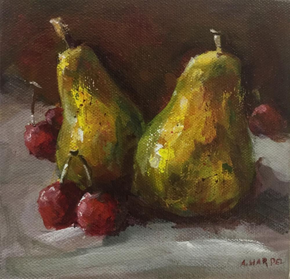 """Pear cherry food art Impressionism "" original fine art by Alice Harpel"