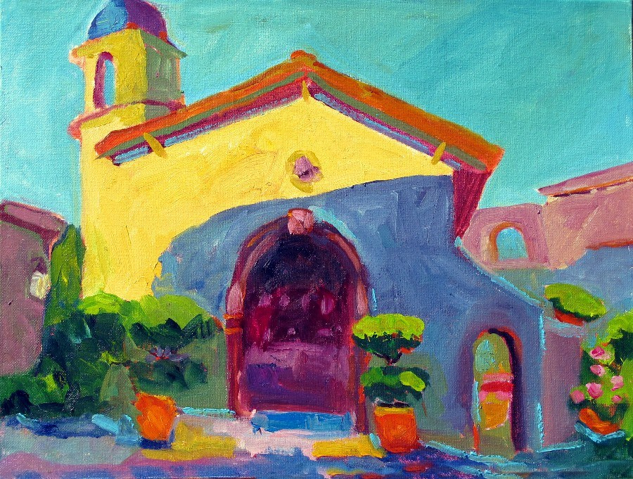 """Tlaquepaque Chapel, Sedona, 12142"" original fine art by Nancy Standlee"