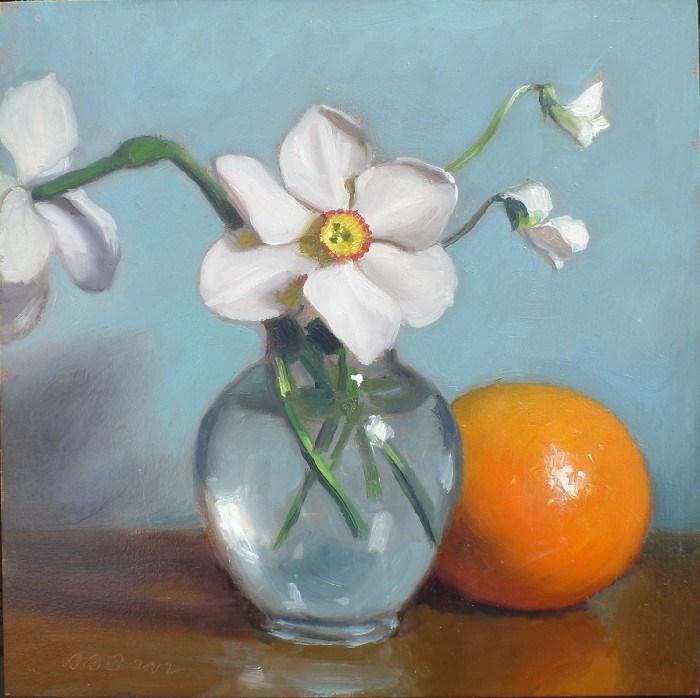 """Spring Flowers and Orange on Blue"" original fine art by Debra Becks Cooper"