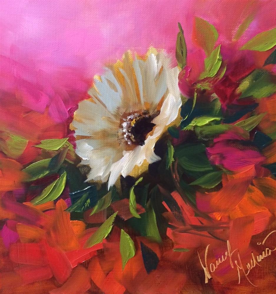 """Raspberries and Creme White Daisy - Flower Paintings by Nancy Medina"" original fine art by Nancy Medina"