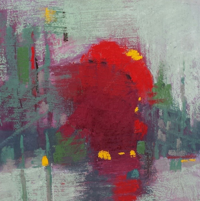 """""""Red Moons Rising"""" original fine art by Cindy Haase"""
