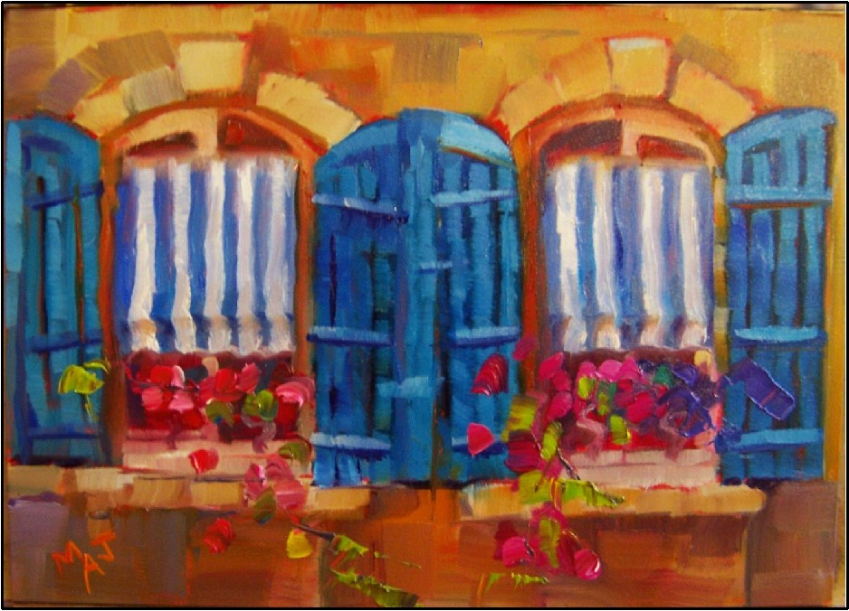 """""""Seeing Double in Arles, 5x7, oil on gessoboard, Provence, Arles, shutters, flowers, stripes, small"""" original fine art by Maryanne Jacobsen"""