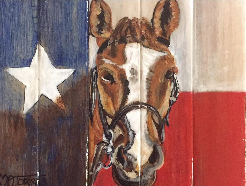 """""""Horse with Texas Flag"""" original fine art by Melissa Torres"""