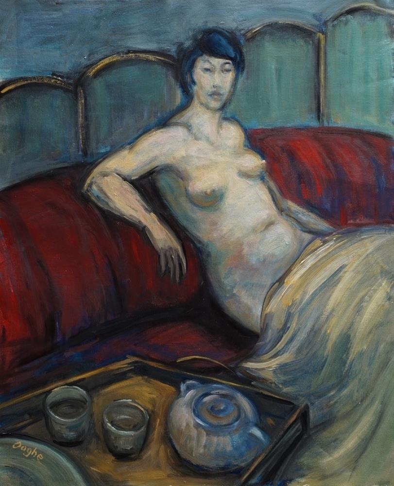 """""""Nude with Tea Tray"""" original fine art by Angela Ooghe"""