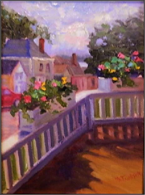 """""""View from the Pentagoet Inn, 9x12, oil on panel, Castine plein air festival, Pentagoet Inn, Castin"""" original fine art by Maryanne Jacobsen"""