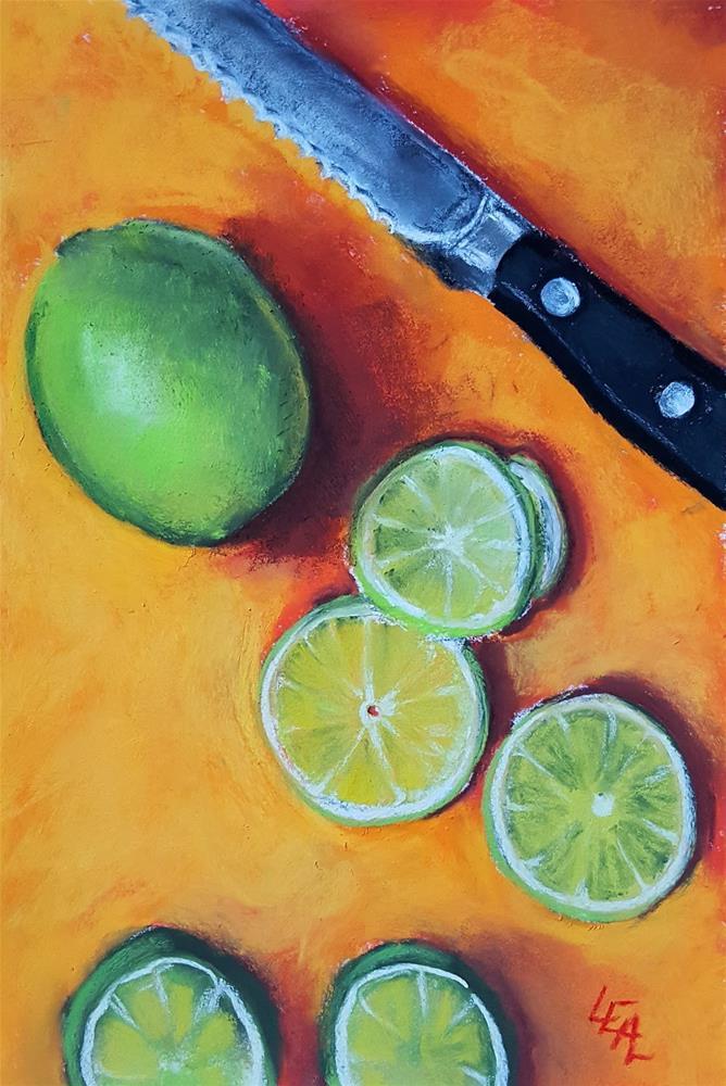"""Limes on Orange"" original fine art by Anna Lisa Leal"