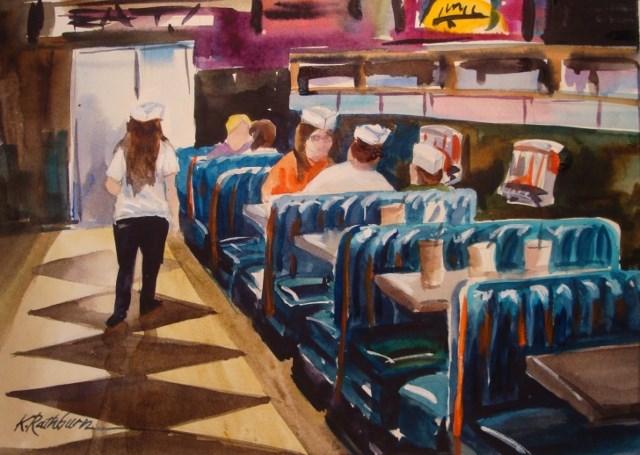 """Eat at Ed's - Chicago"" original fine art by Kathy Los-Rathburn"