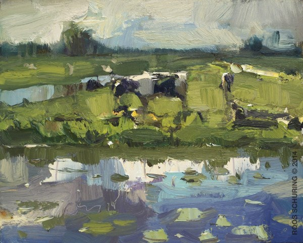 """""""Spring Light and a Cow – Painting cows – Koeien"""" original fine art by Roos Schuring"""