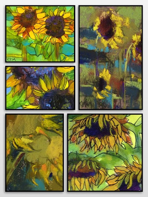"""Time for Mini Paintings...Sunflowers!"" original fine art by Karen Margulis"