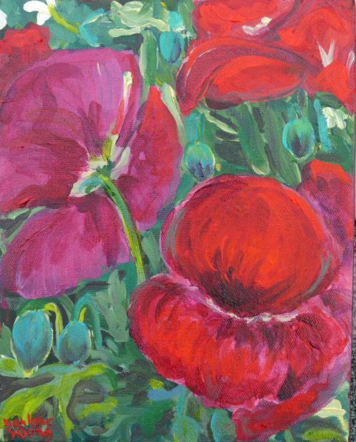"""Darling Poppies. acrylic, 8x10"" original fine art by Darlene Young"
