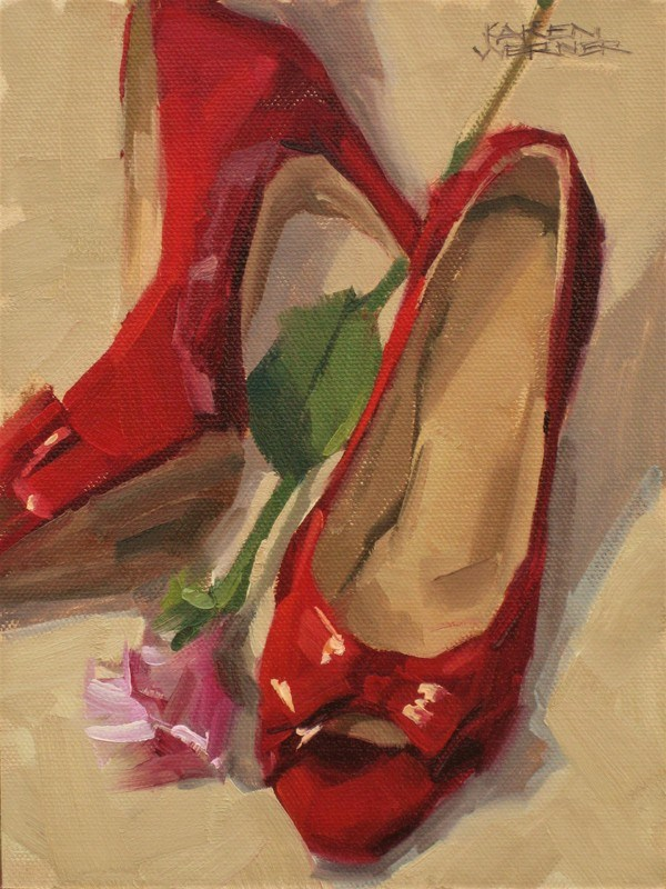 """""""Red Shiny Shoes"""" original fine art by Karen Werner"""