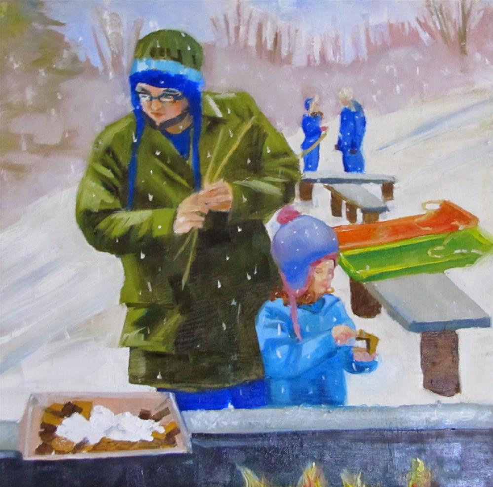 """""""S'mores and Sledding"""" original fine art by Christine Holzschuh"""